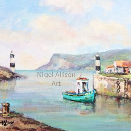Carnlough Harbour with blue boat - Watwermark v